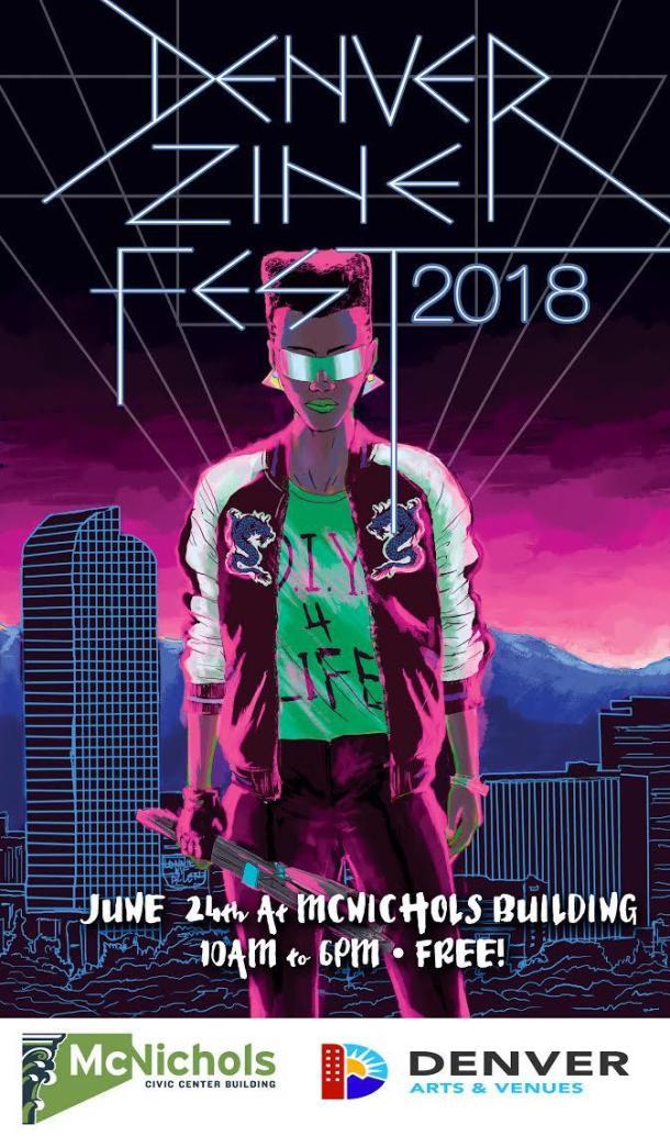 2018 Denver Zine Fest Poster (two logos)