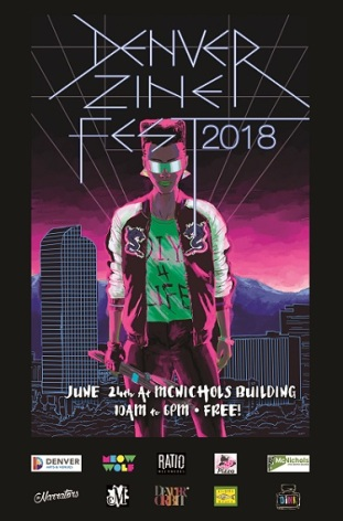 2018 Denver Zine Fest poster with sponsors - small